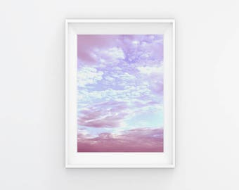 Cloud Print Printable Art Pink And Blue Sky Art Cloud Photography Nature Photo Cloud Poster Pastel Print Bedroom Decor Instant Download