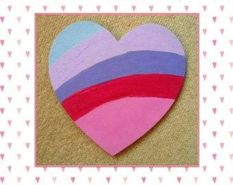 Wooden refrigerator magnet - glitter fridge magnet  - heart fridge magnet - wooden heart - sparkling heart - kitchen sign - office decor