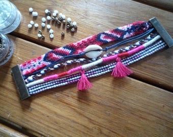 Pink Bohemian multi strand bracelet