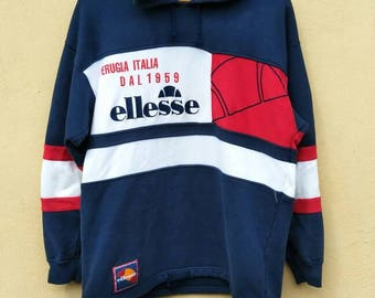 Vintage ELLESE big logo hoodies multicolour / vintage ellese spell out hooded / ellese pull over/ vintage ellese multicolour