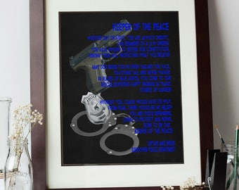 Personalized Police Officer Gift, Police Prayer, Law Enforcement Gift, Canvas Wall Art, First Responder Appreciation, Chalkboard Wall Decor