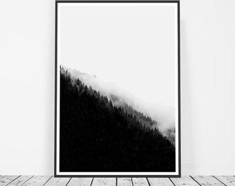Scandinavian Print, Black and White Mountain Print, Minimalist Scandinavian Poster, Forest Print, Affiche Scandinave, Art Print