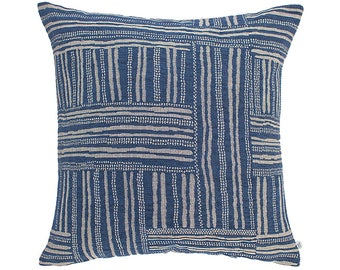 Basketweave Cushion in navy 45 cm square
