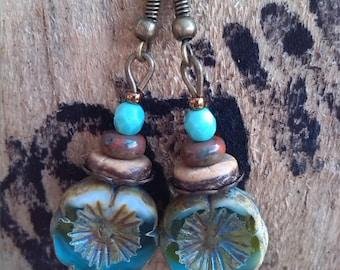 Romantic, nature, Flower Earrings turquoise