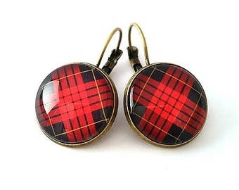 Earrings cabochon, Plaid, tartan, plaid, outlander, red and black Plaid, retro, gift for her, alodycrea