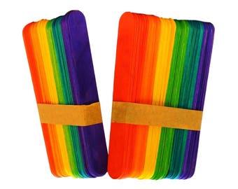 120 Large Jumbo Coloured Wooden Lollipop Lolly Craft Sticks