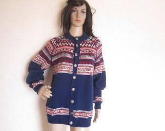 Vintage 80s Norwegian Wool Cardigan Sweater Handmade wool S / m