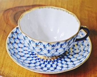 Lomonosov Teacup And Saucer, Cobalt And Gold Cup And Saucer, Made In USSR