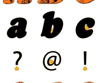 Alphabet Letters Numbers Halloween Witches Pumpkin Orange Black Digital Clip Art Instant Download Individual Files Scrapbooking Crafts