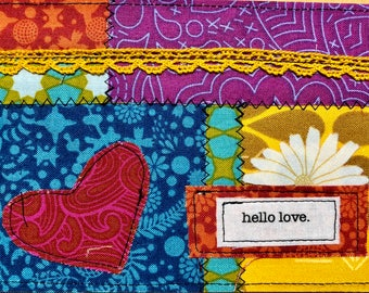 Quilted postcard - hello love