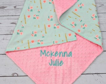 Personalized baby Girl blanket-Minky Mint baby blanket-Personalized Rose Baby minky blanket - Flora baby blanket -Mint Gold Girl blanket