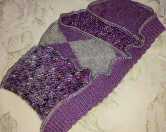 Purple Headband, Upcycled sweater headband, Fits most sizes