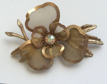 Unique Vintage  Gold Mesh Flower Brooch