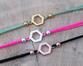 Hexagon Bracelet | Hexagon Thread Bracelet | Sterling Silver Bracelet | Ibiza bracelet | Silver 925 Hexagon String Bracelet | Friendship