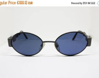 SALE 15% Oval sunglasses ANNABELLA thick metal frame with golden details on hinge blue lenses fixed, Deadstock