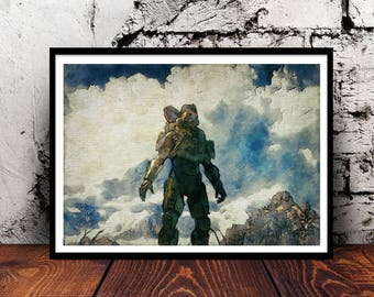 Halo Master Chief John-117 Spartan UNSC xbox game gaming gamer nerd geek navy army wall art home decor gift for her gift for him A4 print