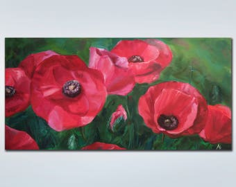 Flower  Large Painting  Colorful painting Original oil painting  Canvas art  Red poppies  Landscape  Flower  Large Painting