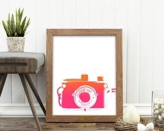 girls room decor, camera print, photography gift, instant download, pink orange baby nursery wall art, teenager, dorm decor, jpg file