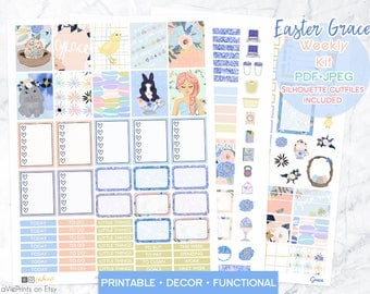 Printable Planner Stickers, Easter stickers, Spring kit, Blue, glitter, Weekly kit, floral, Use with Erin condren, Farm animals,