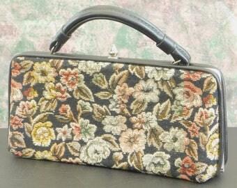 Vintage Needlepoint Tapestry Handbag Purse Top Handle, Designer Floral Print Carpet Bag Pocketbook,