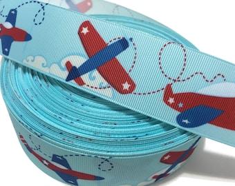 Airplane Ribbon, Jet Plane Ribbon, Airplane Grosgrain Ribbon, Jet Ribbon, Jet Grosgrain Ribbon