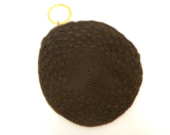 Vintage 1930s Crochet Clutch Purse...Round Brown Zipper Purse with Plastic Ring..Unique Rare Lined Evening Bag Handbag...Early 20th Century