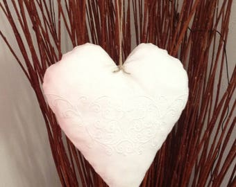 White heart embroidered antique linen