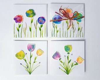 Watercolour flower cards. Blank - illustrated greeting cards - Birthday - Set of 4  Original illustrations