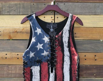 0326 American Vintage Lace Up Top
