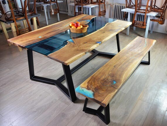 on sale live edge river dining table with bench and glowing. Black Bedroom Furniture Sets. Home Design Ideas