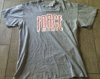 Vintage Nike Force T-shirt Gray Size Large Single Stitch Made in USA B2