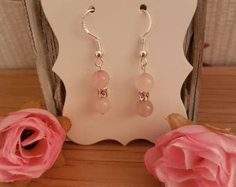 Rose Quartz gemstone and silver barrel earrings, Sterling silver
