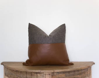 18x18 Faux Leatherand Grey Linen  Pillow Cover