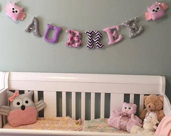 FABRICS WALL LETTERS ,baby shower gift ,kids name banner Nursery decor .Custom made