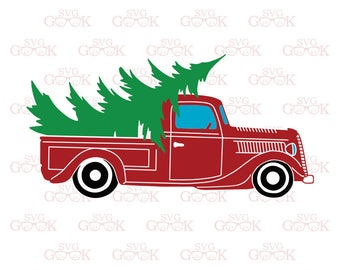 Christmas Truck SVG, Vintage Truck svg, Christmas tree Delivery truck svg, Tree farm svg cut files for Cricut and Silhouette, svg files