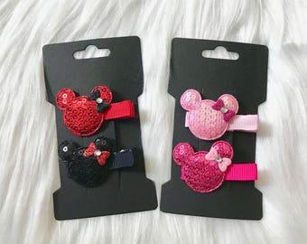 2 Minnie Mouse Hair Clips, Minnie Mouse Hair Bow, Baby Hair Clip, Baby Girl Hair Clip, Hair Accessory, Hair Clip, Toddler Hair Clip, Clippie