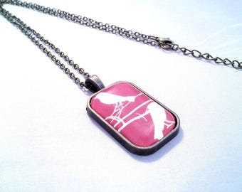 August challenge - Pink birds - rectangle Cabochon necklace