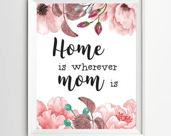 Home Is wherever mom is print Printable Mothers day gift print wall art decor gift for mom mother's day quote printable mom wall art gifts