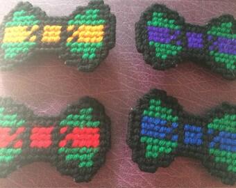 Handsewn Teenage Mutant Ninja Turtles Inspired Yarn Hair Bow Set