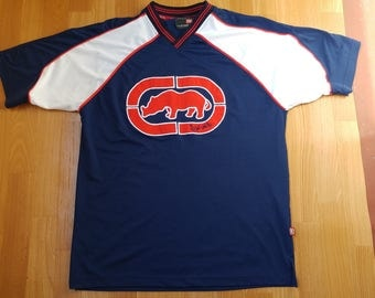 ECKO UNLTD jersey, vintage t-shirt, 90s hip hop clothing, 1990s hip-hop fashion, blue polyester, basketball tank, og, gangsta rap, size XL