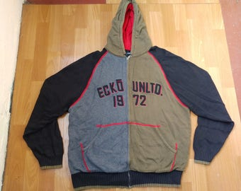ECKO UNLTD hoodie, gray vintage hip hop sweatshirt, sweater shirt 90s hip-hop clothing, 1990s shirt, OG, gangsta rap, size M Medium