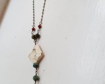 Mixed Gemstone Lariat Necklace