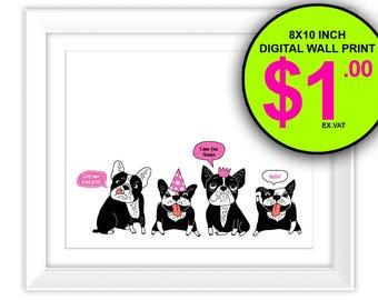 French Bulldogs Wall Art Print, Instant Download, 8x10 Inch, Digital Print