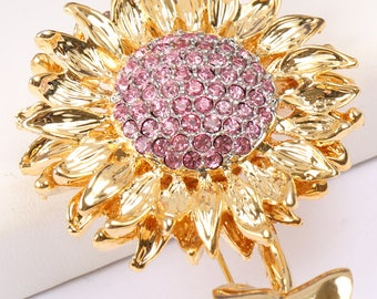 Sunflower brooch with pink rhinestones, Vintage 1950s/1960s
