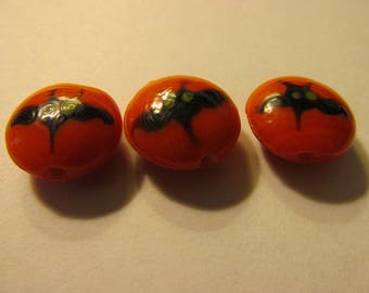 Flying Black Bat on Orange Lampwork Glass Beads, 15mm, Set of 2