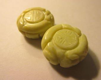 "Lemon Yellow Round Magnesite Beads with Chinese ""Shou"" Motifs, 22mm, Set of 2"