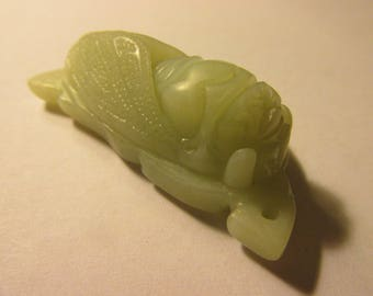 Light Green Jade Cicada on Leaf Pendant, 2 1/8""