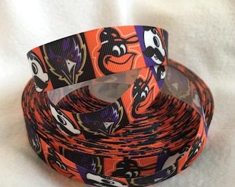 Maryland Orioles, Natty Boh, Ravens, Maryland Ribbon, Grosgrain Ribbon, Cute Ribbon, Hairbows, Scrapbooking Embellishment, MD, Maryland