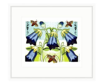 Harbel and Bees, framed print. Collage of vintage match box label images. Ready to hang.