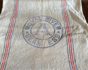 Royal River Seed bag sack advertising linen fabric rustic home decor or farm cottage